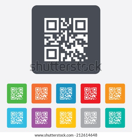Qr code sign icon. Scan code symbol. Coded word - success! Rounded squares 11 buttons. Vector