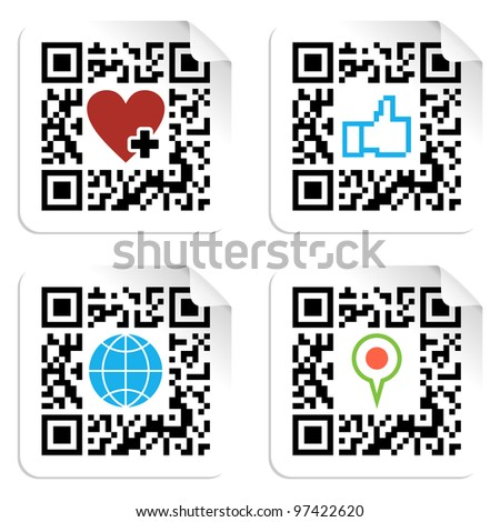 QR code technology concept with social media icons in labels. Vector file available. - stock vector