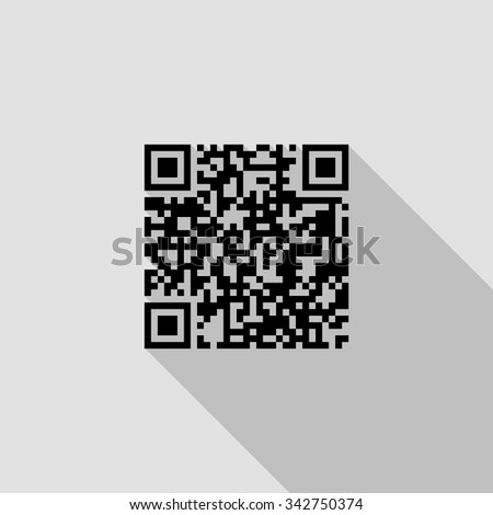 QR code vector icon with long shadow