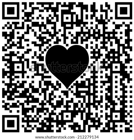 """QR code with hidden text """"I love you!"""" and symbol of heart in black and white colors - stock vector"""