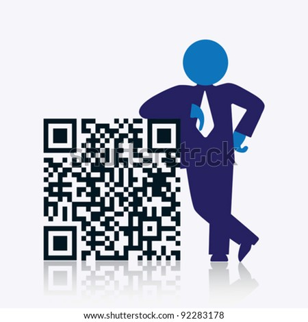 QR code with savvy businessman standing next to it. CMYK global process colors used. Organized by layers. Gradients used. - stock vector