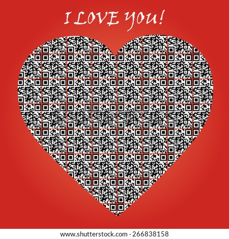 """QR code with text """"I LOVE YOU"""" and symbol of heart. - stock vector"""