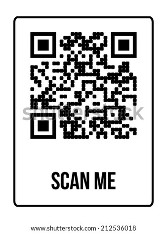 "Qr code with text ""Sample QR code"" in black color with instructions - stock vector"
