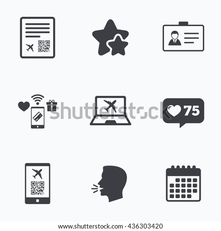 QR scan code in smartphone icon. Boarding pass flight sign. Identity ID card badge symbol. Flat talking head, calendar icons. Stars, like counter icons. Vector - stock vector