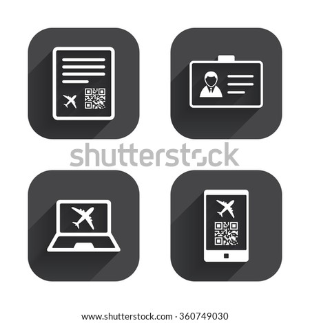 QR scan code in smartphone icon. Boarding pass flight sign. Identity ID card badge symbol. Square flat buttons with long shadow. - stock vector