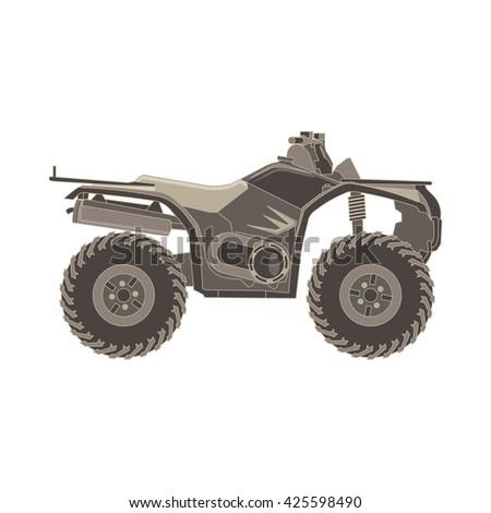 quad bike , ATV side view monochrome flat icon in gray color theme illustration object - stock vector