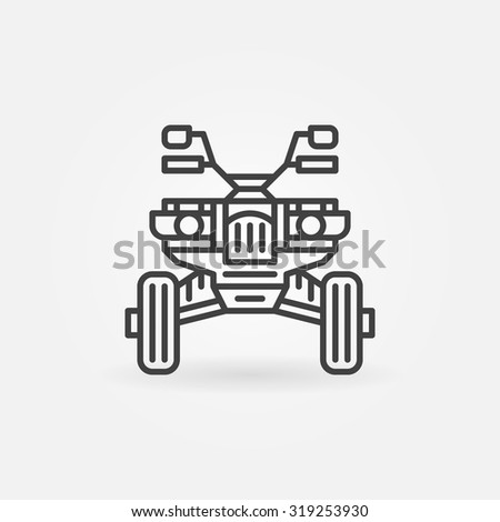 Quad bike icon or logo - vector linear ATV front view sign or symbol - stock vector