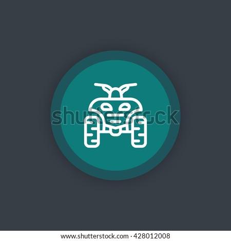 quad bike line icon, quadricycle linear sign, vector illustration - stock vector