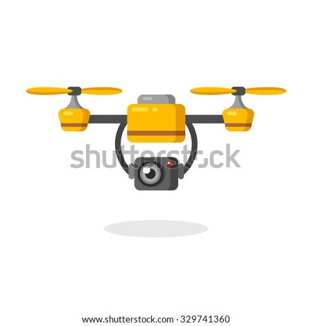 Quadcopter aerial drone with camera for photography or video surveillance. Flat cartoon vector illustration. - stock vector
