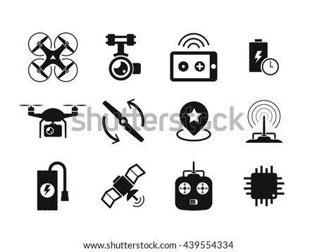 Quadcopter and flying drone icons on white background.  - stock vector