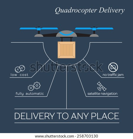 Quadrocopter delivery flat design. Vector promotion infographic - stock vector