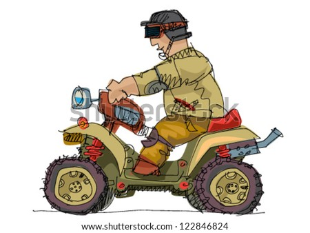 quadrocycle - cartoon - stock vector