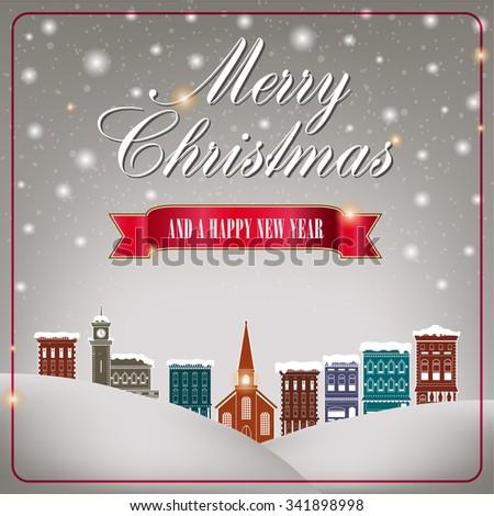 Quaint Christmas village  - stock vector