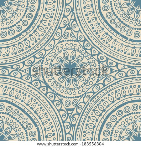 Quaint lace indian seamless pattern. All objects are conveniently grouped on different layers and are easily editable. - stock vector