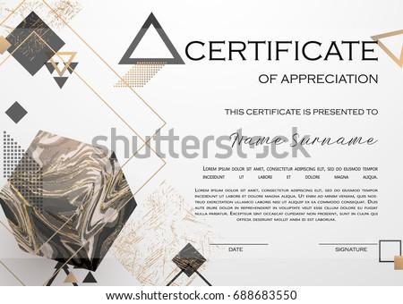 Qualification Certificate Appreciation Design Elegant Luxury Stock
