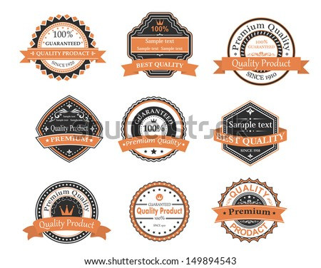 Quality and warranty labels set in retro style. Jpeg version also available in gallery