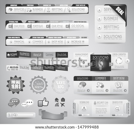 Quality clean web elements for blog and sites. Icons, header, carousel, infographic - stock vector