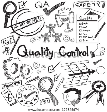 Quality control in manufacturing industry operation doodle sketch tools sign and symbol in white isolated background paper for engineering management presentation or introduction with text (vector)