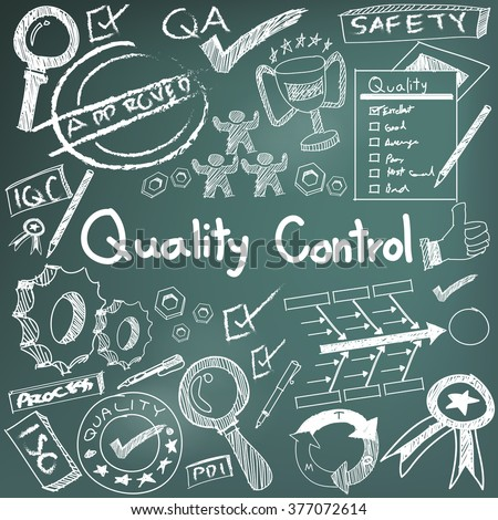 Quality control in manufacturing industry production and operation doodle sketch design tools sign and symbol in isolated background paper for engineering management education presentation (vector)