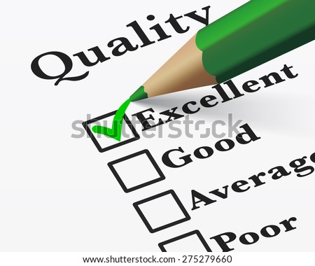 Quality control survey business products and customer service checklist with excellent word checked with a green check mark EPS 10 vector illustration.