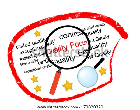 Quality Focus - the label for institutions engaged in quality control - stock vector