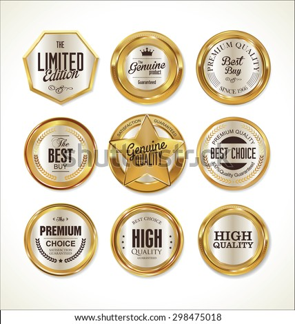 Quality golden badges collection - stock vector