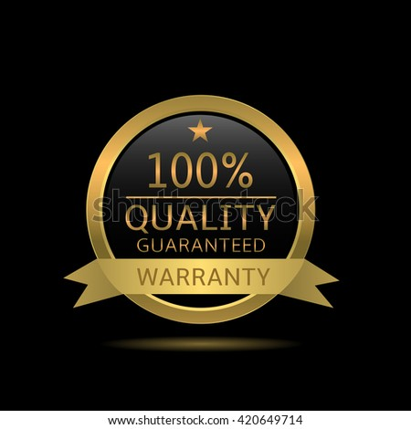 Quality guaranteed badge. Golden warranty label with ribbon - stock vector