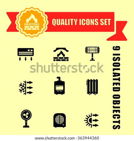 Red sign fire gas house stock vector 89087365 shutterstock for Heat setting for home