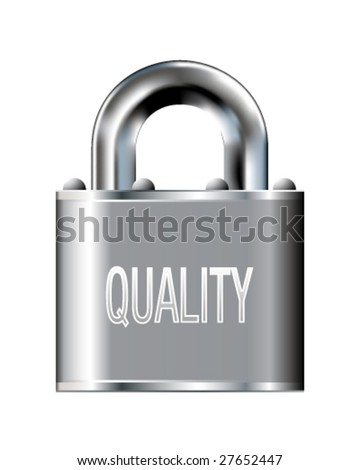 Quality icon on stainless steel padlock vector button