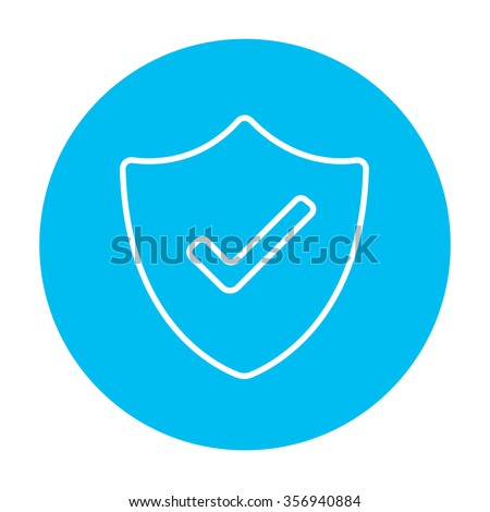 Quality is confirmed sign line icon for web, mobile and infographics. Vector white icon on the light blue circle isolated on white background.