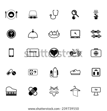 Quality life line icons on white background, stock vector