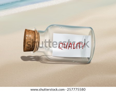 quality message in a bottle isolated on beautiful beach - stock vector