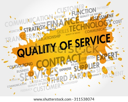 Quality of Service related items word cloud business concept - stock vector