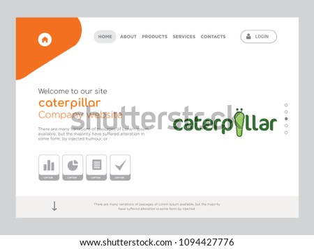 quality one page caterpillar website template stock vector royalty