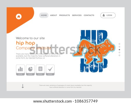 Quality One Page Hip Hop Website Stock Vector 1086357749 - Shutterstock