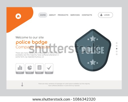Quality One Page Police Badge Website Stock Vector 1086342320