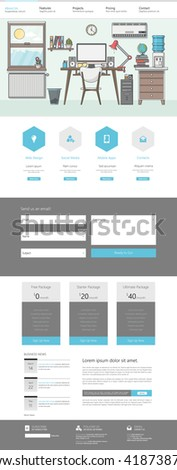 Quality One Page Website Template Vector Eps10, Creative Modern Web Design with flat UI elements. Ideal for Business layout