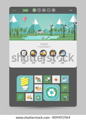 Quality One Page Website Template Vector Eps10, Modern Web Design with flat UI elements and landscape illustration. Ideal for Business layout