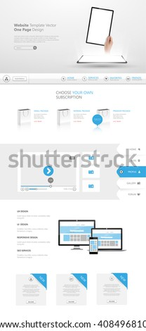 Quality One Page Website Template Vector Eps10, Modern Web Design with flat UI elements and tablet mockup. Ideal for Business layout - stock vector