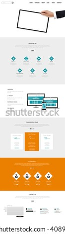 Quality One Page Website Template Vector Eps10, Modern Web Design with flat UI elements and tablet mockup. Ideal for Business layout