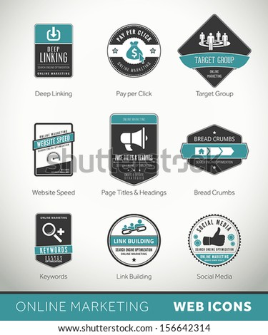 Quality Online Marketing labels and badges with icons - stock vector