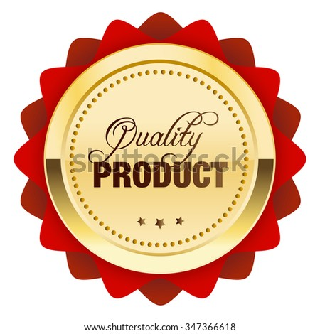 Quality product seal or icon. Glossy golden seal or button with stars and red color.