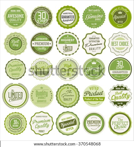 Quality retro vintage badges and labels collection - stock vector