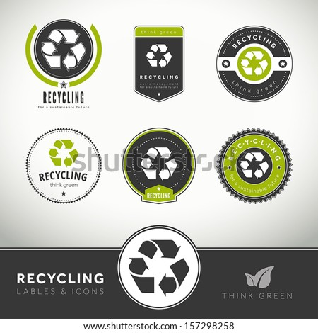 Quality set of recycling labels and badges, seals and stamps - stock vector
