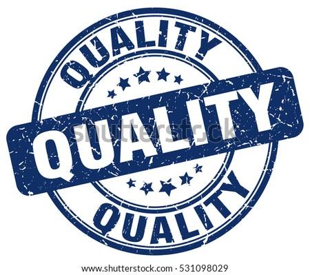Quality Stamp Blue Round Grunge Vintage Stock Vector