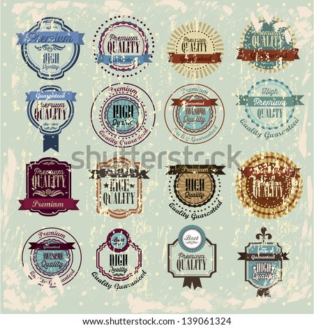 Quality stamp over vintage background vector illustration - stock vector