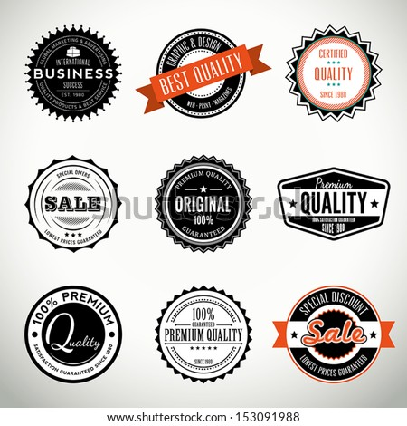 Quality vintage set of seals, stamps and stickers - stock vector