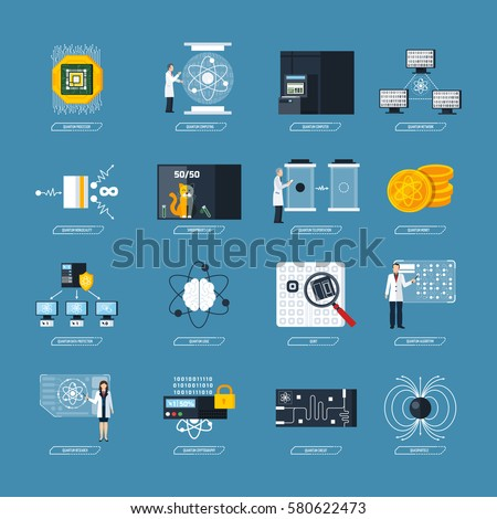 Quantum Physics Flat Decorative Icons Set Stock Vector 2018