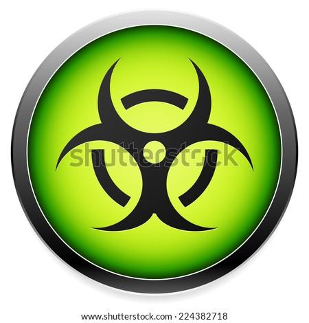 Quarantine, contamination, bio-hazard symbol, sign, icon in green. Vector - stock vector