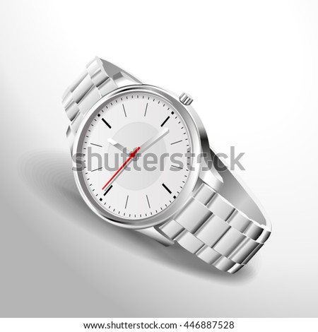 Quartz analog watch with an iron strap photo realistic vector illustration in a 3D style, isolated on white background